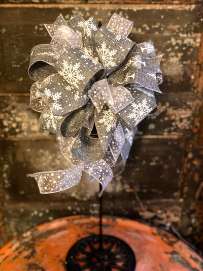 The Cassie Gray & White Winter Snowflake Bow, bow for wreaths, lantern bow, winter bow, winter decor, rustic decor, mailbox bow, snowy