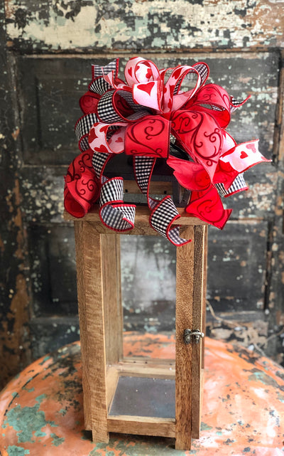 The Elena Red White & Black Buffalo Check Valentines Day Bow, Bow for wreaths, Lantern Bow, Valentines decor, Mailbox Bow, heart bow