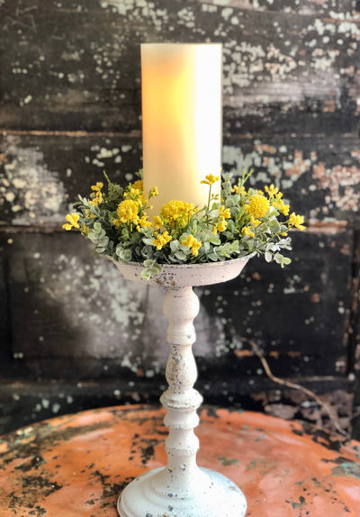 The April Yellow Garden Candle Ring, Farmhouse candle ring, Easter decor, Spring decor, Mini wreath, Mantle decor, Table decor,Cottage decor