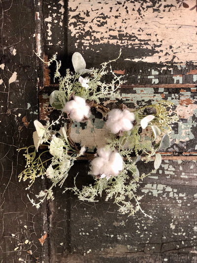 The Lucinda Cotton & Lambs Ear Candle Ring, Farmhouse candle ring, Easter Spring decor, Mini wreath, Mantle decor,Table decor,Cottage decor
