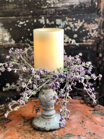 Lavender Spring Garden Candle Ring, Farmhouse candle ring, Easter decor, Spring decor, Mini wreath, Mantle decor, Table decor, Cottage decor