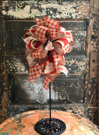 The Margo Red & Tan Check Valentines Day Bow, Bow for wreaths, Lantern Bow, Valentines decor, Mailbox Bow, I love you bow, sweetheart bow