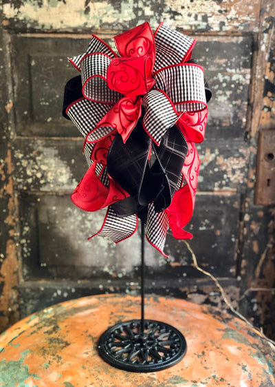 The Paris Red White & Black Buffalo Check Valentines Day Bow, Bow for wreaths, Lantern Bow, Valentines decor, Mailbox Bow, sweetheart bow