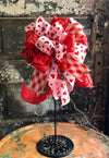 The Opal Red White & Pink Valentines Day Bow, Bow for wreaths, Lantern Bow, Valentines decor, Mailbox Bow, heart bow