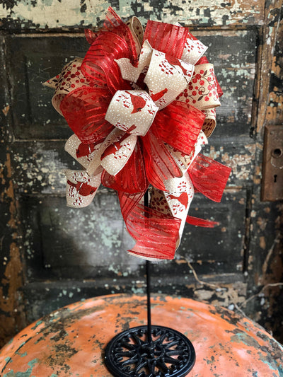 The Kristen Red & Beige Winter Cardinal Bow, bow for wreaths, lantern bow, mailbox bow, cottage decor, winter decor, cardinal decor