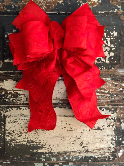 The Chanel Red Embroidered Valentine's Bow, bow for wreaths, Elegant bow, Lantern bow, All season bow, Wreath alternative, Large bow