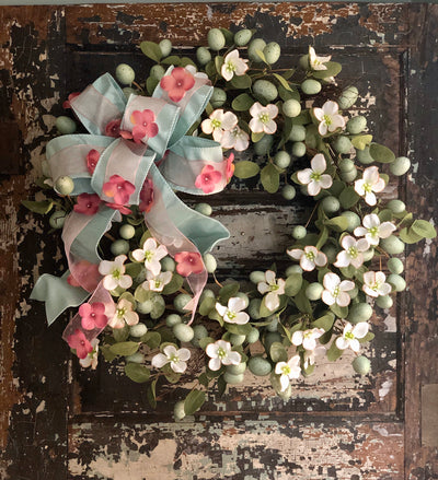 The Ingrid Dogwood & Robin Egg Spring Wreath For Front Door, Easter wreath, Cottage decor, farmhouse wreath, shabby chic wreath, Easter egg