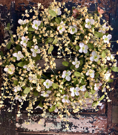 The RoseMarie Cream & Yellow Dogwood Berry Blossom Easter Wreath, Spring wreath for front door, Farmhouse cottage decor
