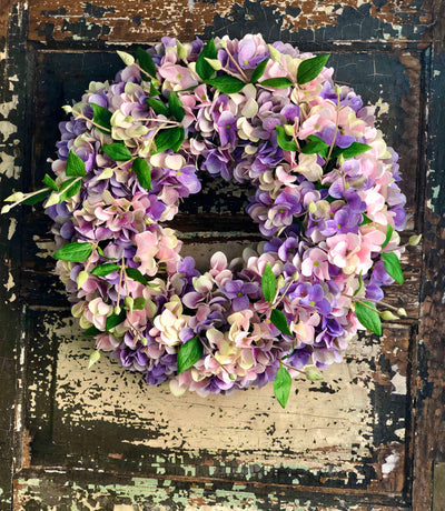 The Mallory Pink & Lavender Hydrangea Wreath For Front Door, Easter Spring wreath, farmhouse cottage decor