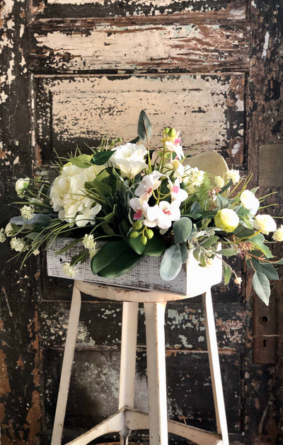 The Rayna White Wedding Centerpiece for Table, Spring arrangement, Hydrangea & orchid centerpiece for kitchen island, Tabletop arrangement