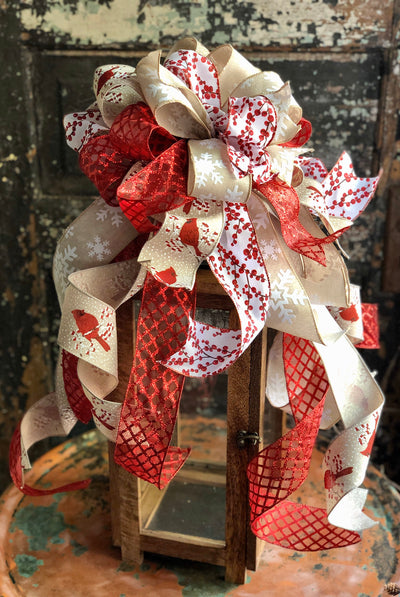 The Ruby Red White & Tan Winter Cardinal Bow, Christmas tree topper bow, Bow for wreaths, winter decor, farmhouse Xmas decor
