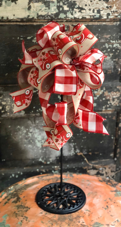 The Carley Red White & Tan Vintage Truck Valentines Bow, bow for wreaths and lanterns, valentines decor, sweetheart bow