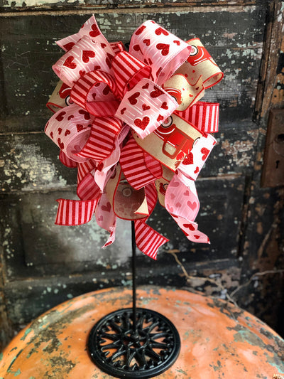 The Sheryl Red Pink & Beige Valentines Day Bow, bow for wreaths, lantern bow, sweetheart bow, valentine decor