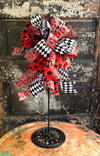 The Haley Red Black & White Valentines Day Bow, Valentine decor, bow for wreaths, lantern bow