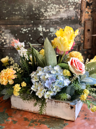 The Marjorie Yellow & Blue Spring Farmhouse Centerpiece For Dining Table, wedding centerpiece, easter arrangement, Garden centerpiece