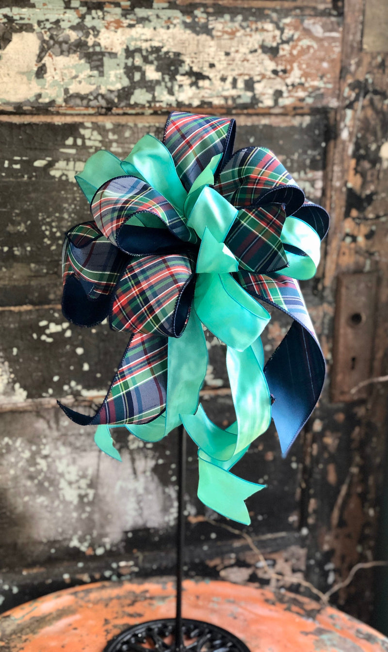 The Paula Navy & Green Plaid Bow, lantern bow, easter bow, bow for wreaths, year round bow, farmhouse bow
