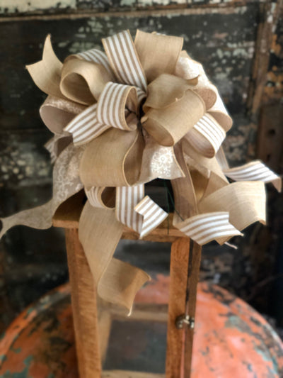 The Charlene Tan & Cream Bow For Wreaths, Lantern bow, everyday bow, farmhouse bow, farmhouse bow