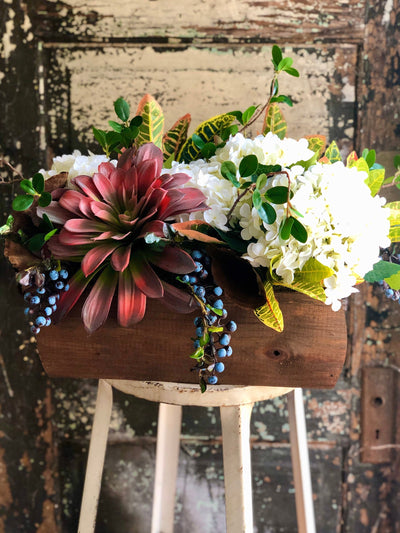 The Alura Rustic Large Centerpiece For Table, farmhouse elegant arrangement, woodsy natural silk flowers, kitchen centerpiece