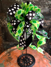 The Cait Green & Black St Patricks Day Bow For Wreaths, Lantern bow, Saint Patricks Day Decor, Spring bow