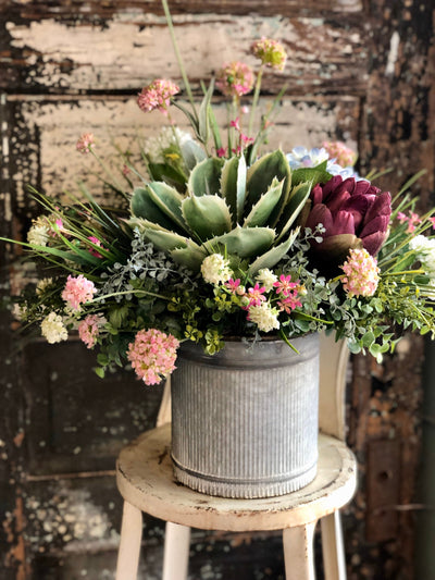 The Ilsa Spring Centerpiece For Table, succulent centerpiece, rustic farmhouse arrangement, cottage centerpiece, Hydrangea and artichoke