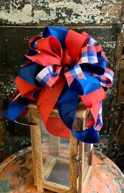 The Martha Red White & Blue American Pride Bow, Fourth of July Bow, Americana bow, American flag bow, Patriotic bow, USA bow for wreaths