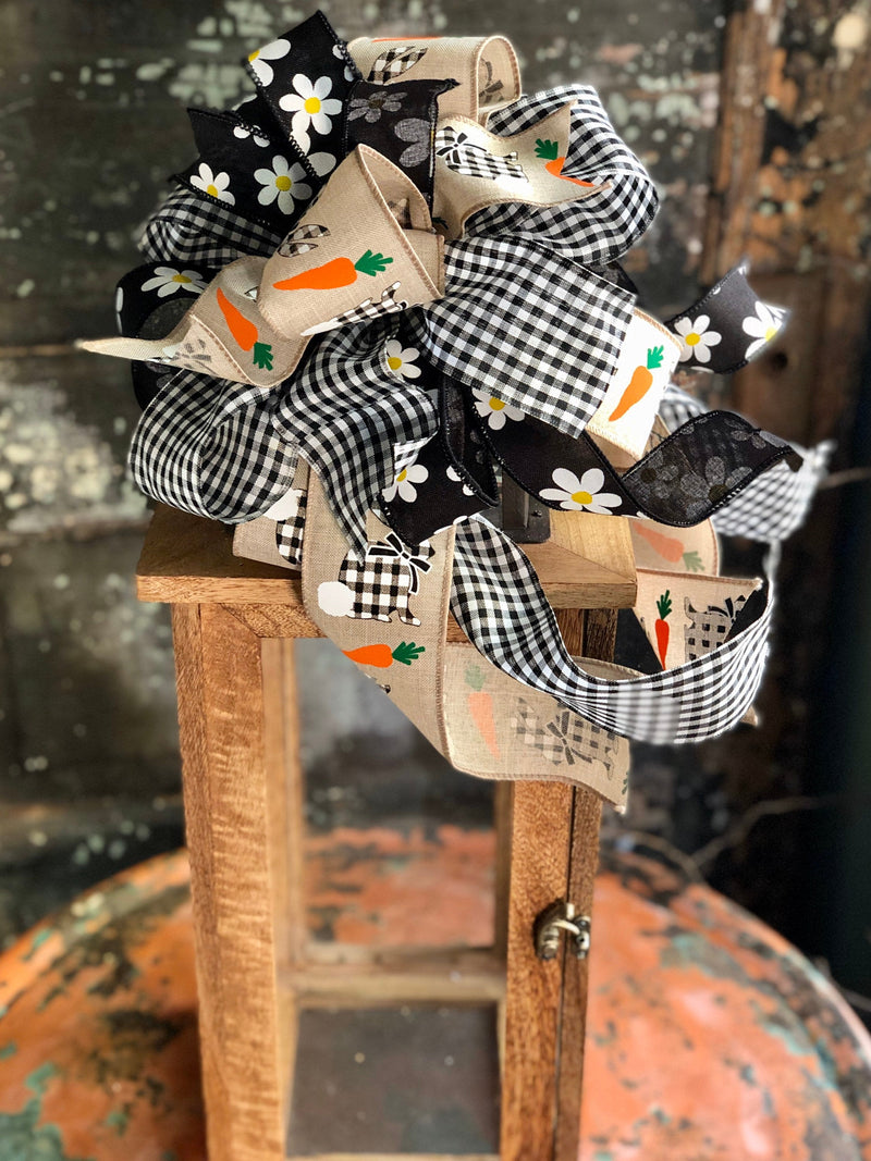 The Beatrix Black Tan & White Easter Bunny Bow For Wreaths, lantern bow, Spring bow, Easter Decor, spring decor, check bow