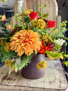 The Cassie Summer Wildflower Centerpiece for dining table, red yellow garden arrangement, , rustic farmhouse centerpiece