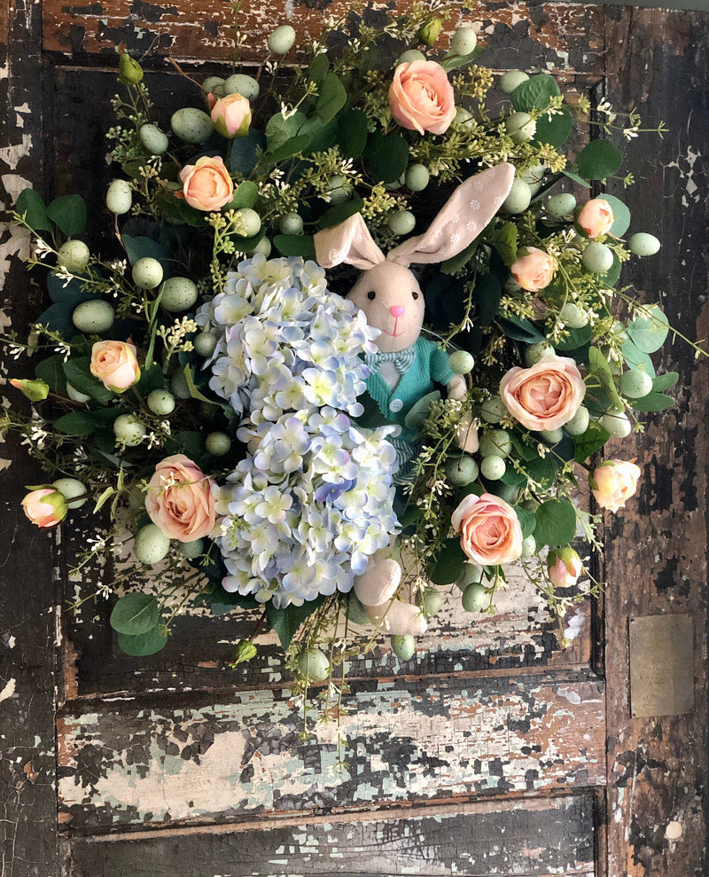 The Estelle Easter Bunny Wreath For Front Door, spring hydrangea & rose wreath, Easter egg wreath