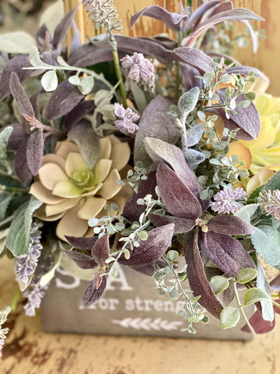 The Sadie Summer Herb Garden Centerpiece, Kitchen arrangement, Sage& Lavender florals, Countertop centerpiece, Wall hanging arrangement
