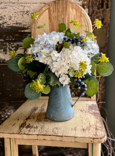 The Faye Blue & White Hydrangea Centerpiece For Dining Table, Cottage Pitcher Arrangement, French country garden, mothers day gift