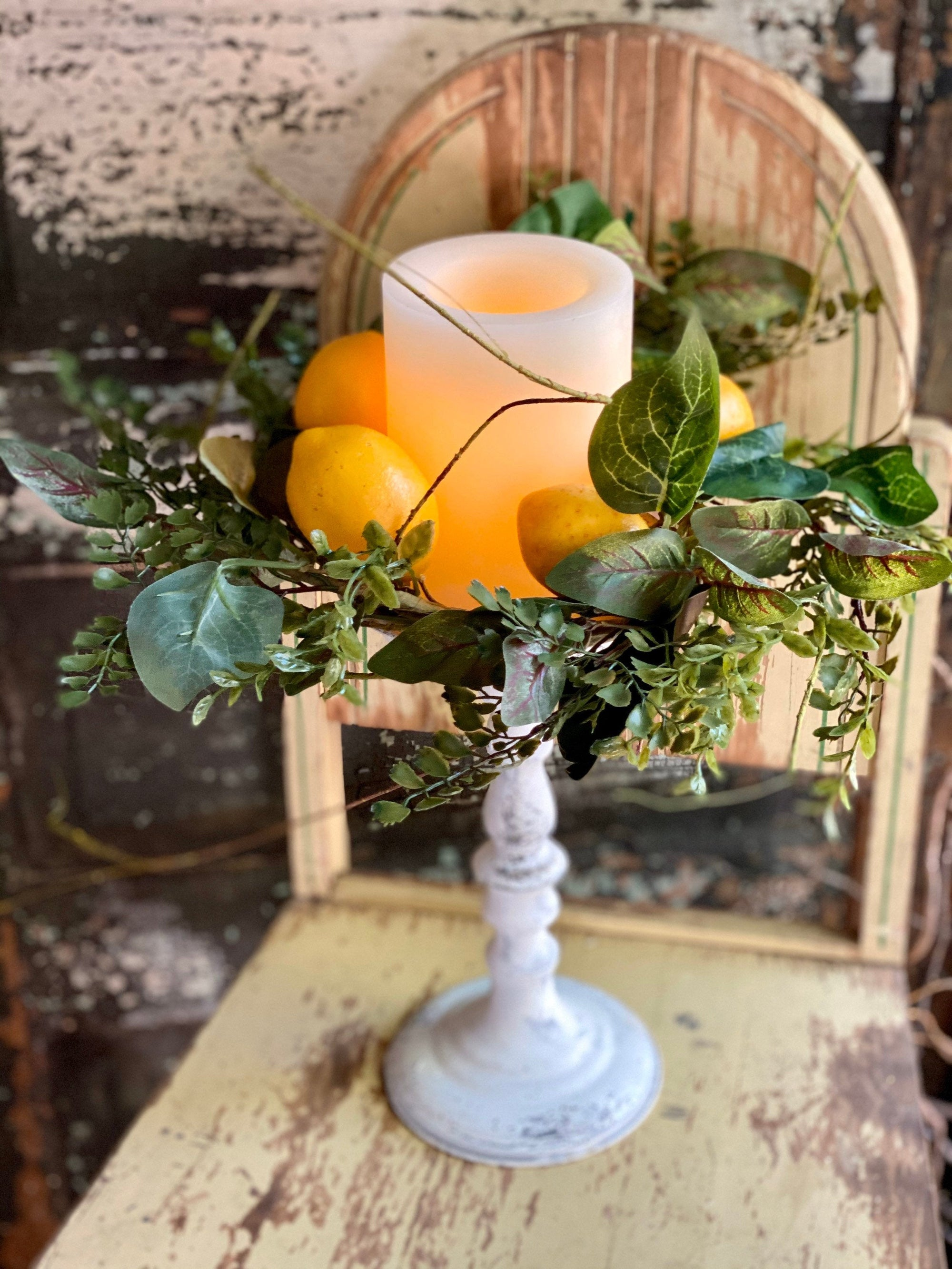 Lemon Candle Ring, Lemon Mini Wreath, Pillar Candle Wreath, Lemon Mantle decor, Kitchen island decor, farmhouse lemon decor