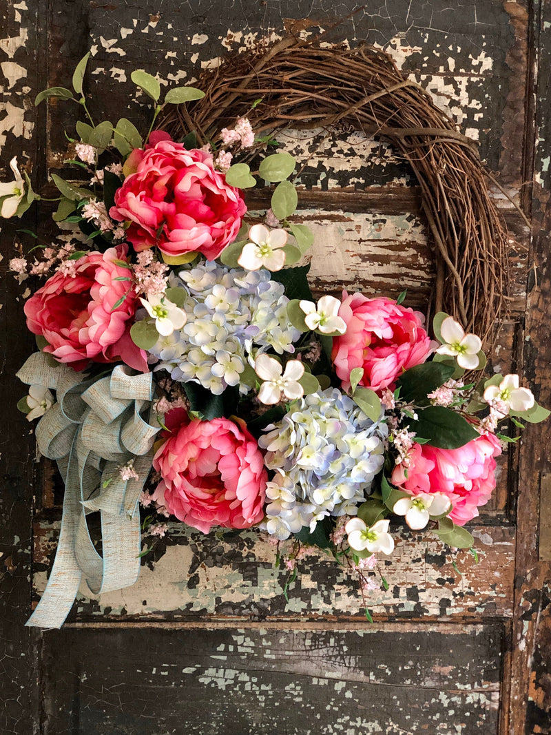 The Arabella Pink & Blue Peony And Hydrangea Wreath For Front Door, Spring wreath, easter wreath, French country decor, cottage decor
