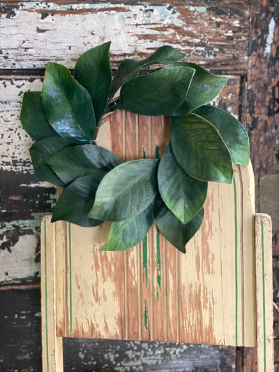 Magnolia Leaf Candle Ring, Artificial magnolia leaf min wreath, Mantle decor, table decor, Farmhouse decor