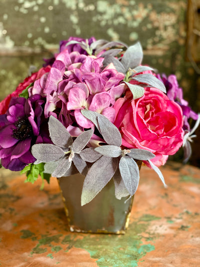 The Jolene French Country Cottage Arrangement, Shabby chic centerpiece for dining table, Pink & purple hydrangea rose arrangement, wedding