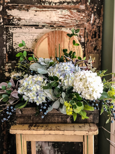 The Bonnie Blue Hydrangea & Blueberry Centerpiece for Dining Table, Mother's Day gift, Kitchen arrangement, Pick me up gift