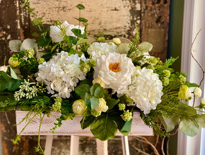 The Beverly Rustic Farmhouse White Centerpiece For Table~All season centerpiece~Natural green arrangement~white hydrangea wedding florals