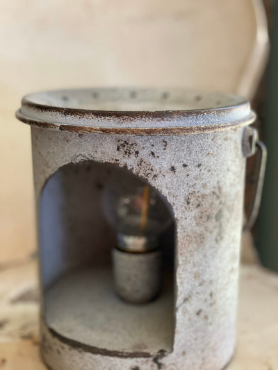Farmhouse LED Metal Milk Can Hanging Lantern~Tabletop decoration~rustic farmhouse decor~Accent table decor~cottage decor~fixer upper style