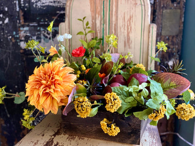 The Harriet Yellow & Red Garden Farmhouse Centerpiece For Table, Summer arrangement, Rustic arrangement, Wildflower centerpiece