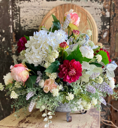 The Grace Spring Centerpiece For Dining Table, Hydrangea & peony blush pink and white arrangement, garden centerpiece, mothers day gift