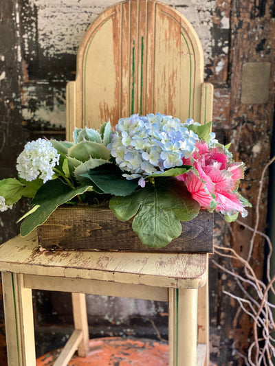 The Geraldine Summer Centerpiece For Dining Table, Blue hydrangea & Succulent arrangement for kitchen island, Farmhouse garden centerpiece