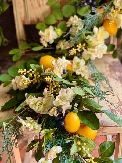 The Ellen Lemon Farmhouse Garland For Mantle~Summer Garland~Staircase Garland~over door garland~farmhouse decor