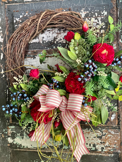 The Virginia American Pride Wreath For Front Door~Fourth of July wreath~Americana wreath~Primitive Farmhouse wreath~elegant red white blue