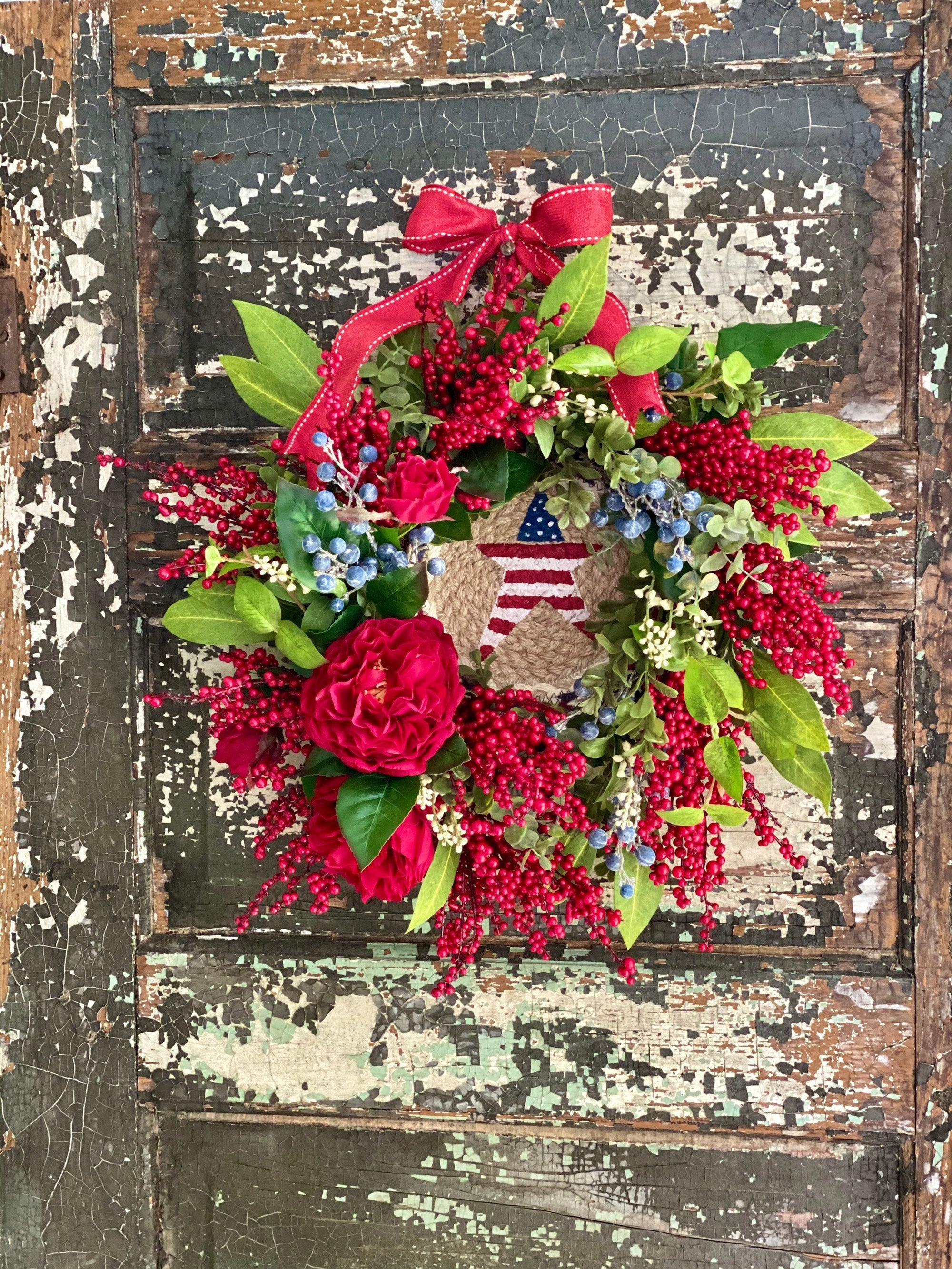 The Star American Flag Wreath For Front Door~Fourth of July wreath~Americana wreath~Primitive Farmhouse wreath~elegant red white blue