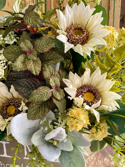 The Mindy Summer Herb Garden Centerpiece, Kitchen arrangement, Sunflower & Mint florals, Countertop centerpiece, Wall hanging arrangement