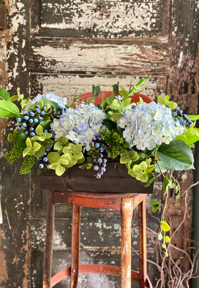 The Sweet Caroline Blue Hydrangea & Blueberry Centerpiece for Dining Table, Kitchen arrangement, Pick me up gift, Farmhouse floral