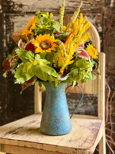 The Sunni Summer Sunflower Kitchen Island Centerpiece, Dining table arrangement, farmhouse decor, garden wildflower centerpiece, pitcher