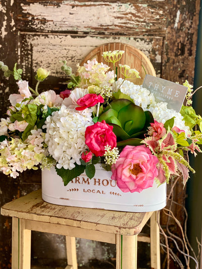 The Aphrodite Pink & White Centerpiece For Dining Table, Wedding arrangement, Garden Style large floral, Shabby Chic floral, Hydrangea rose