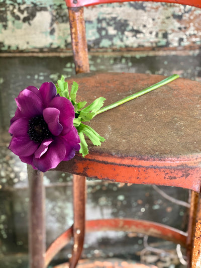 Real Touch Anemone Faux Stem, Purple Anemone, Orange Anemone, Silk flower stem, artificial flower stem, craft supply, wedding flower