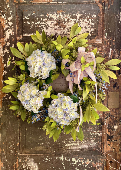 The Olivia Blue Hydrangea & Blueberry Wreath For Front Door, Farmhouse year round wreath, All season berry wreath, pick me up gift