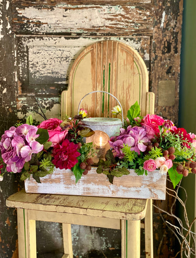 The Claudine French Country Centerpiece For Dining Table, Lantern arrangement, Farmhouse cottage centerpiece, Hydrangea & rose pink purple